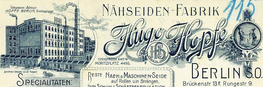 Briefkopf von Hugo Hopfe
