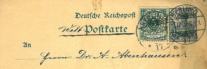 Welt-Postkarte an Alfred Abenhausen