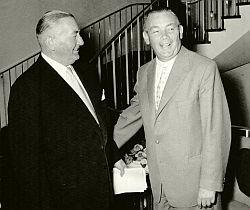 BDI-Präsident Fritz Berg (r.) und VBKI-Präsident Jakob Dichter (l.) am 11.09.1959 (BBWA V2/5/341, Nr. 2)