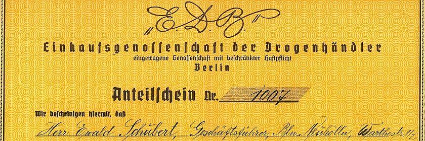 Ausschnitt eines Anteilsscheins der Einkaufsgenossenschaft der Drogenhändler Berlins