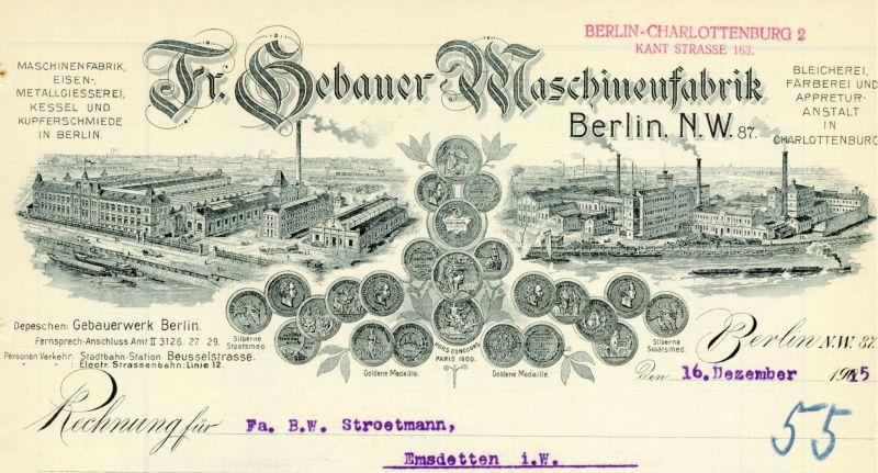 Bleicherei, Färberei und Appretur-Anstalt Fr. Gebauer in Charlottenburg (BBWA S2/7/447)