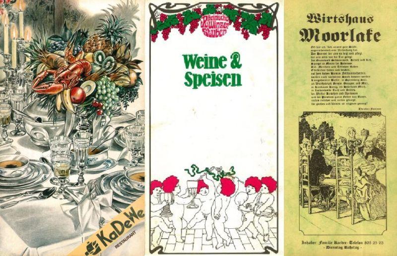 Restaurant im im KaDeWe 1988, Rheinische Winzerstuben 1978 und Wirtshaus Moorlake 1987 (BBWA S2/8/145, 179, 828)