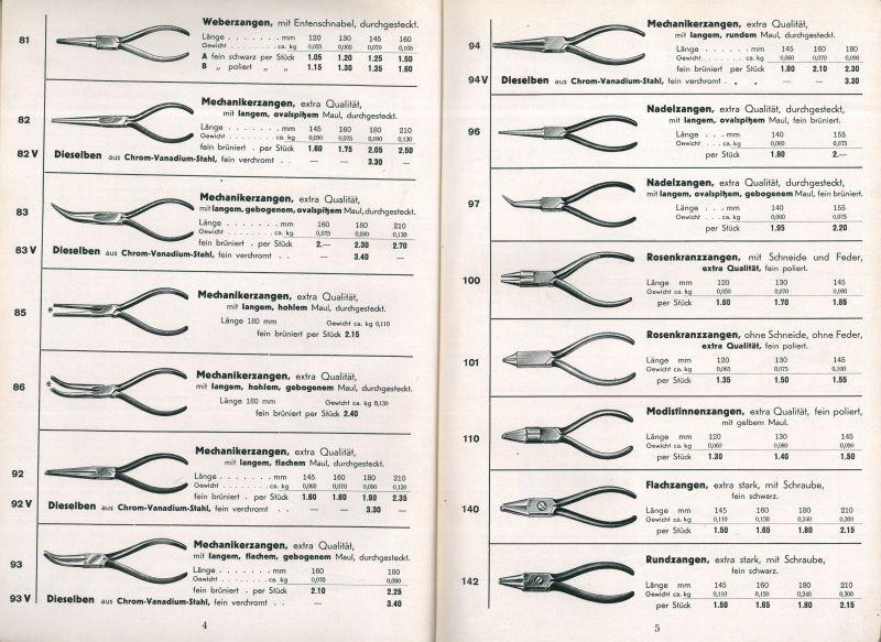 Zangen für den Werkzeughandel (BBWA S2/13/396)